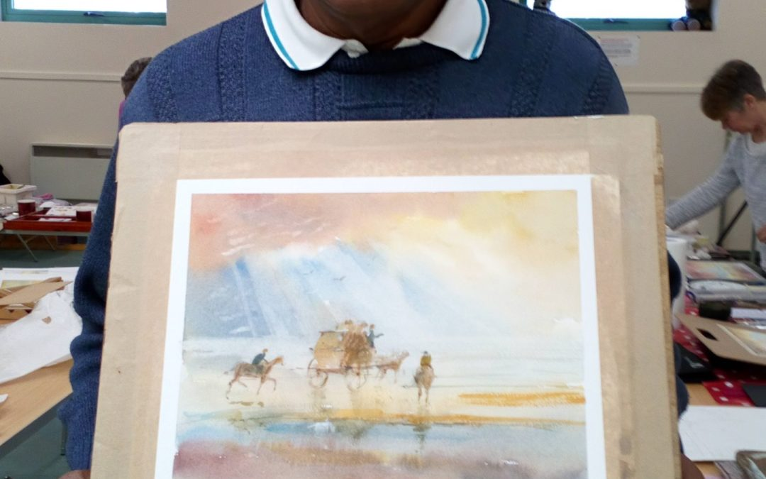 Workshop on March 2nd.  Allan Perera  with his painting 'In The Style of Turner'.