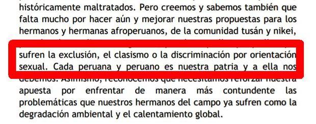 """Guido Bellido hizo una variación en esta parte del discurso sobre """"orientación sexual""""."""