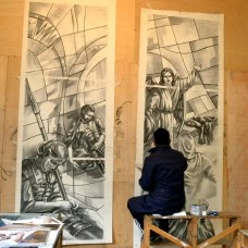 Maestro artesano, realizando un dibujo. (Vitrales)