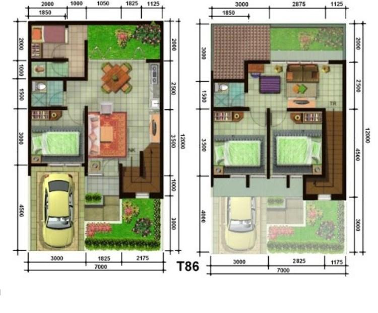 denah rumah type 60 dengan dua lantai