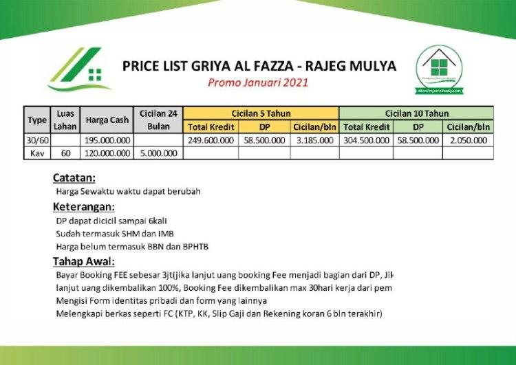 Price List Griya Al Fazza Rajeg Mulya