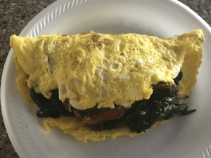 Pescetarian keto spinach and sardine omelette