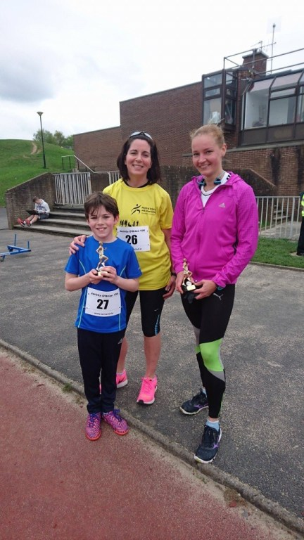 Hilkka Kontro (winner) and youngest competitor Cormac Norton, aged 8, and his mum Catherine Norton