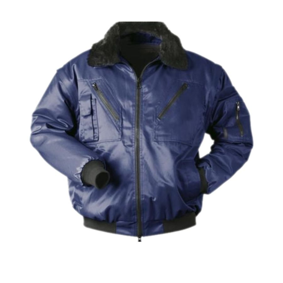 Short winter work jacket with the detachable sleeves Pesso Pilot navy pessosafety.eu