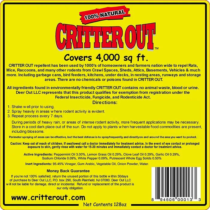 Critter Out Instructions and Ingredients