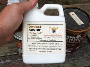 Low toxic repellent Outlast NBS 30 Additive to control carpenter bees infestations