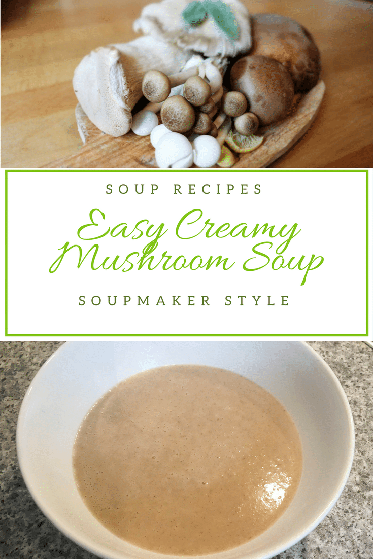 Creamy mushroom soup made with a soup maler - gluten free and can easily be made suitable for vegetarians