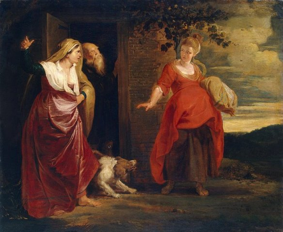 הגר ההרה עם ישמעאל, בנו של אברם ושרי, ציור של רובנס, שימו לב כי ראשו של אברם וראשה של הגר מגולים, בעוד ראשה של שרי מכוסה