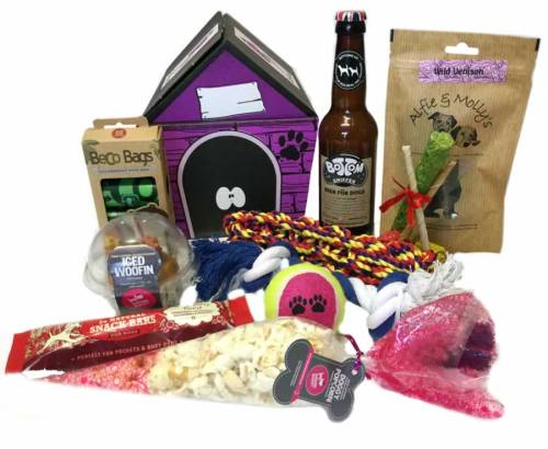 The Birthday Woofin Cake Hamper For Dogs With Dog Beer