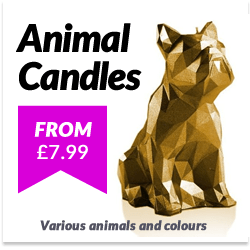 Geometric Animal Candles. Cats, Dogs and Rabbits. Lots of coours to choose from.