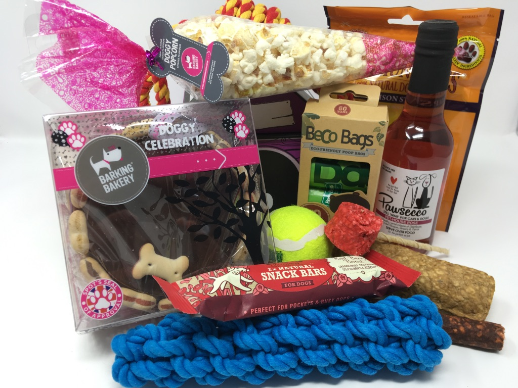 The Birthday Cake Gift Hamper For Dogs With Dog Wine