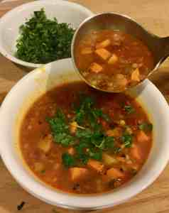 Vegetarian soup, curry, soup, sweet potato