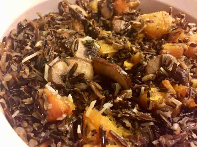 wild rice, mushrooms, squash, vegan, vegetarian