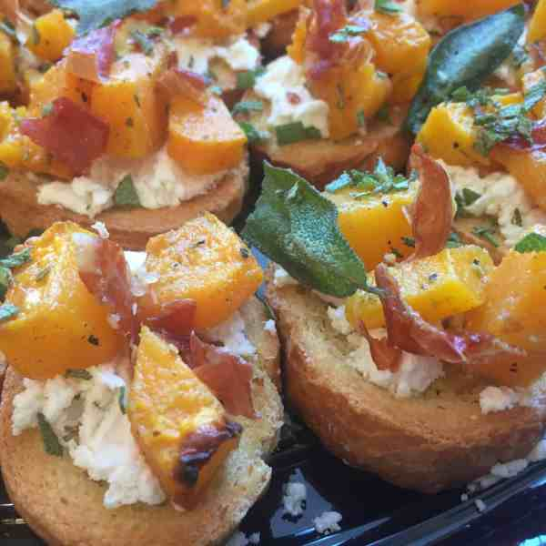 Crostini with Roasted Butternut Squash, Goat Cheese & Prosciutto