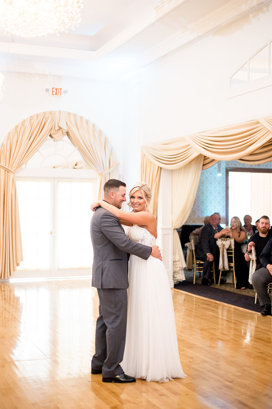 weddingfirst dance in the ballroom of tomasello winery