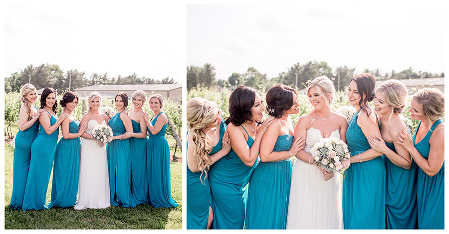 bridesmaids have fun with with the bride