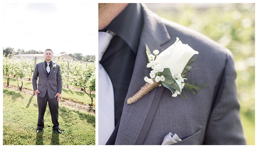 gray suits with white flower and black shirt