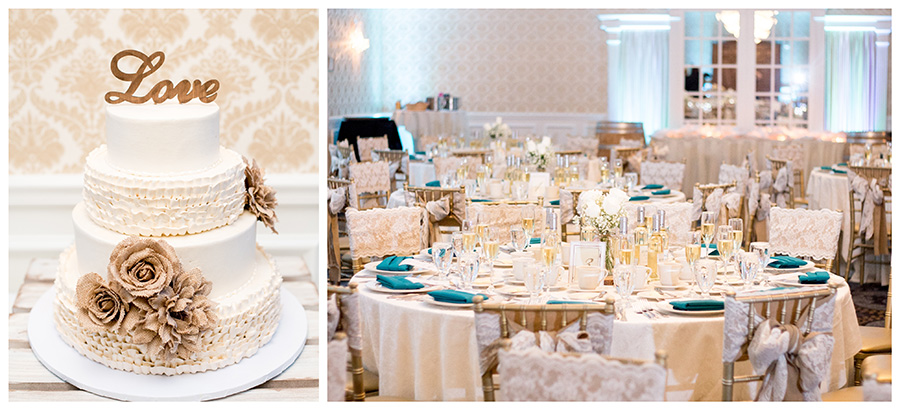 tables decorated with burlap and blue accents