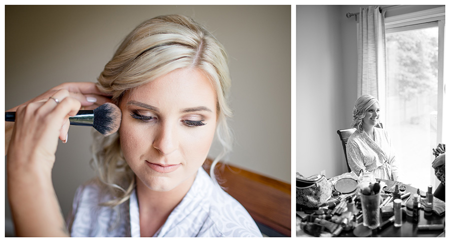 bride getting her makeup done before the wedding