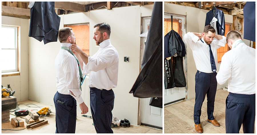 groom and his friends getting ready for the wedding