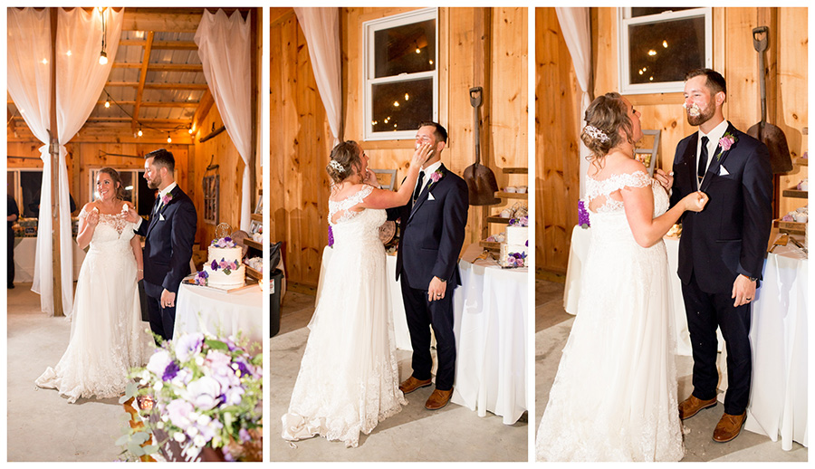 bride and groom cut the cake at their wedding reception at Warner Road Farm