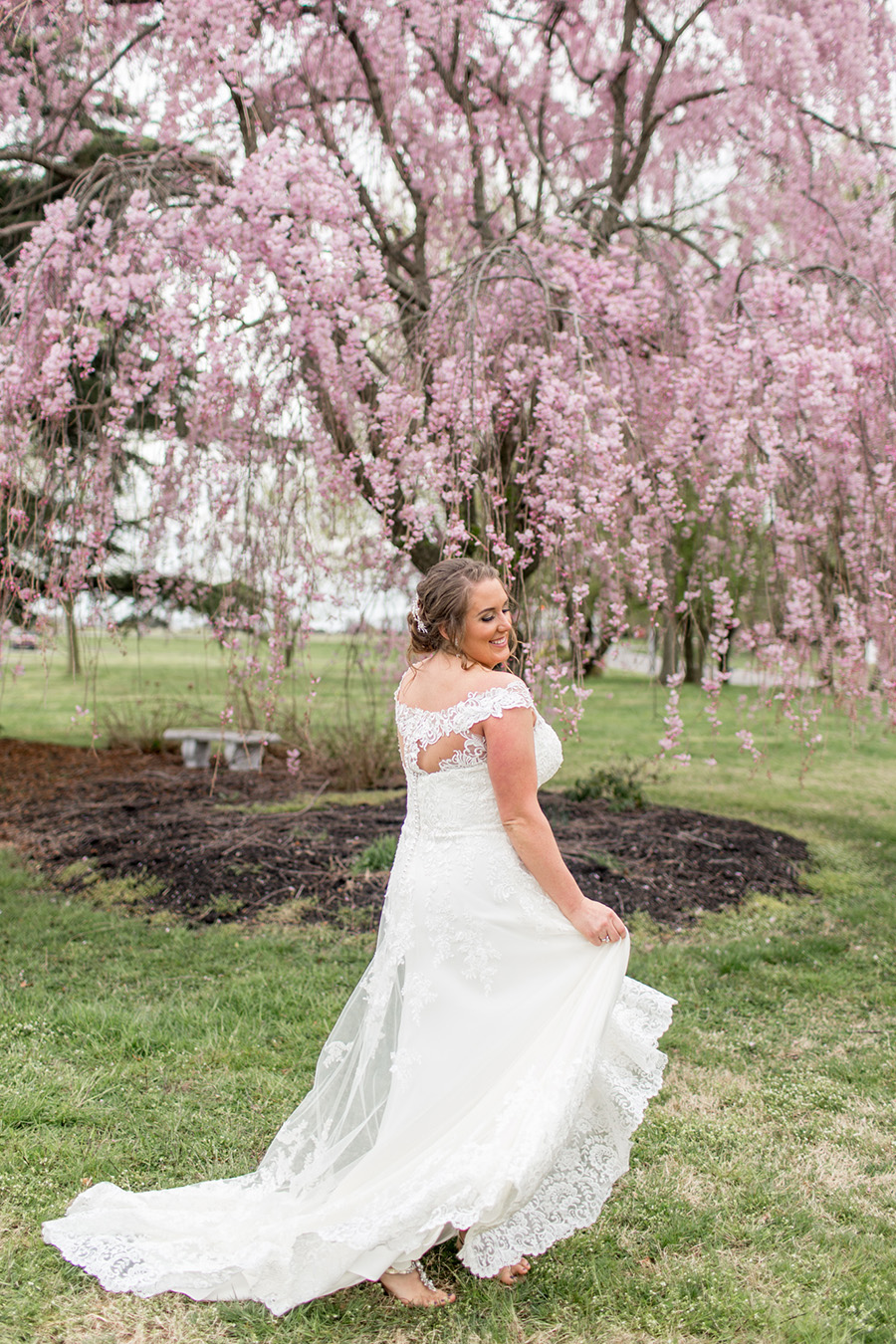 bride spins in her wedding dress
