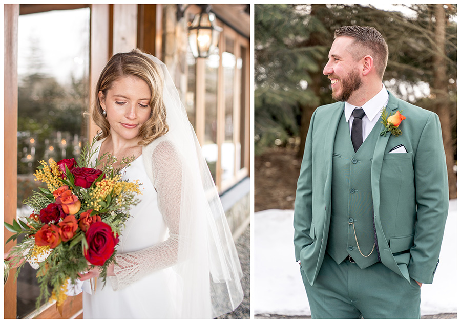 bride and groom wear forest green with pops of red and orange