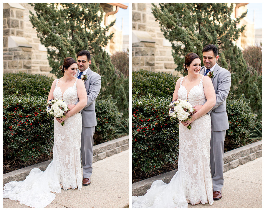 bride and groom pose for portraits for their winter wedding at immaculate conception church