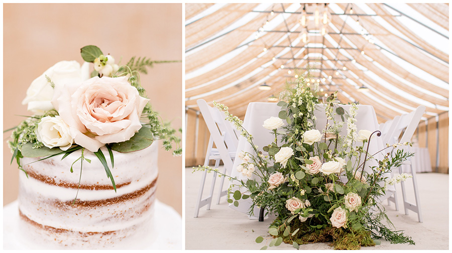 blush colored wedding reception in the greenhouse