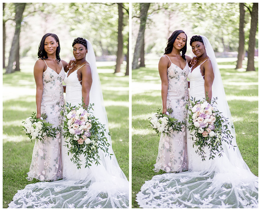 bride and her maid of honor pose for portraits