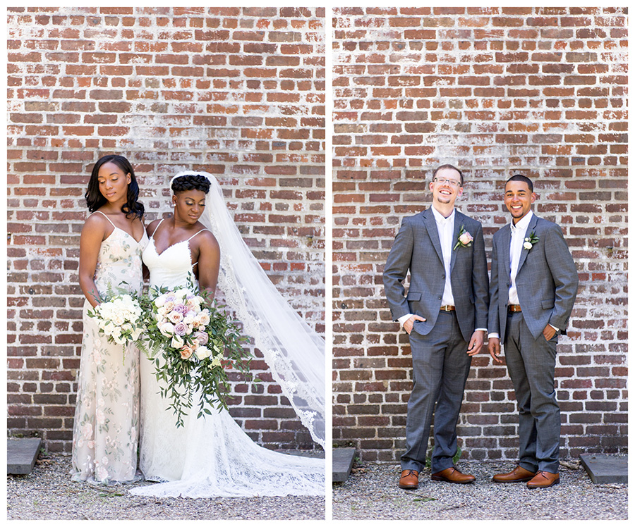 wedding party portraits at allaire state park chapel