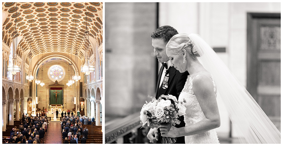 bride and groom stand at the altar of st anthony of padua