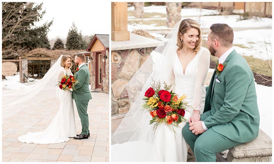 snowy wedding day portraits at stroudsmoor country inn