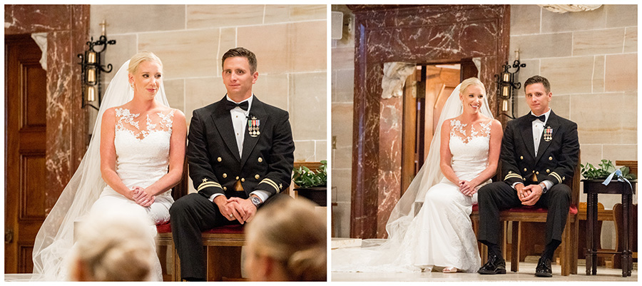 bride and groom sit together during the wedding ceremony at st anthony of padua