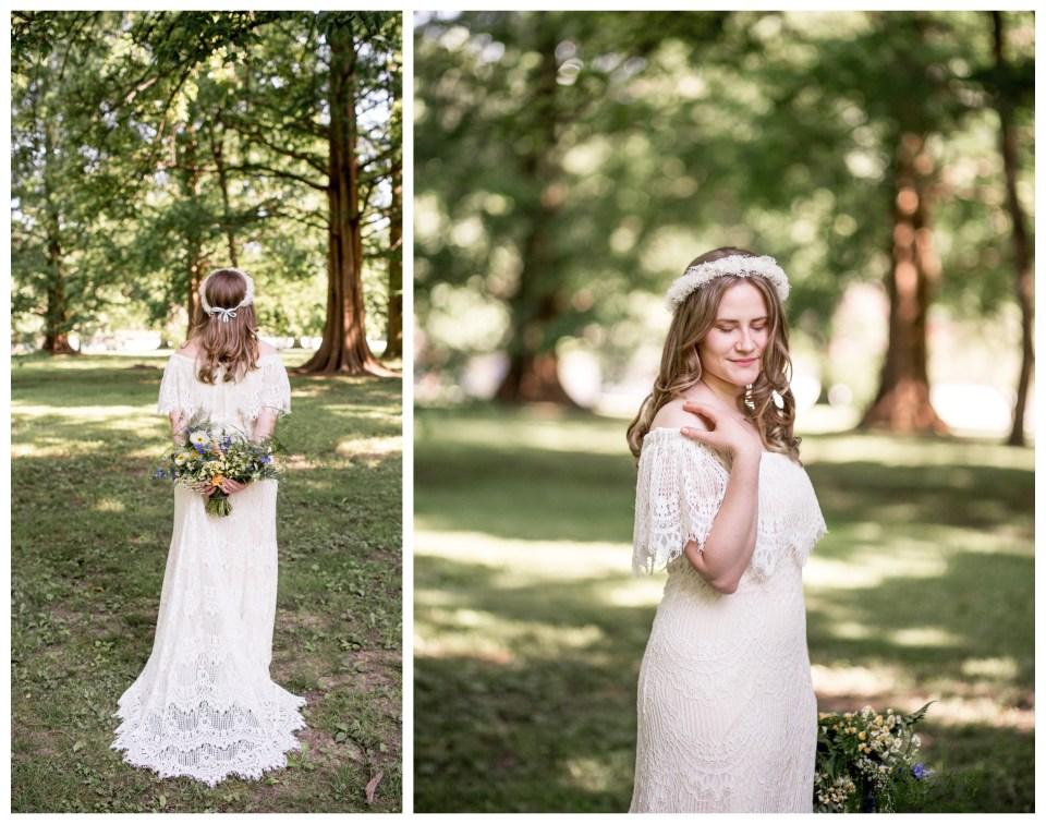 bohemian bride on her wedding day in philadelphia