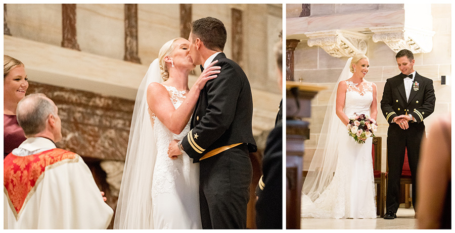 first kiss shared by the bride and groom