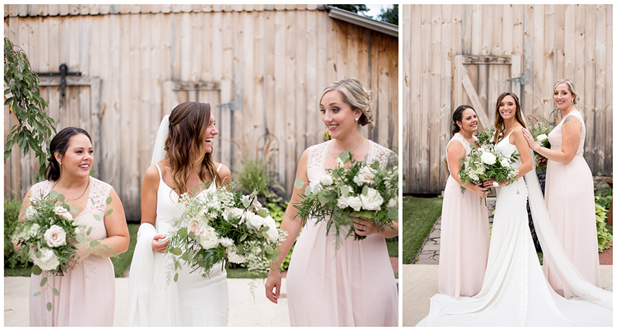 floor length blush bridesmaid dresses