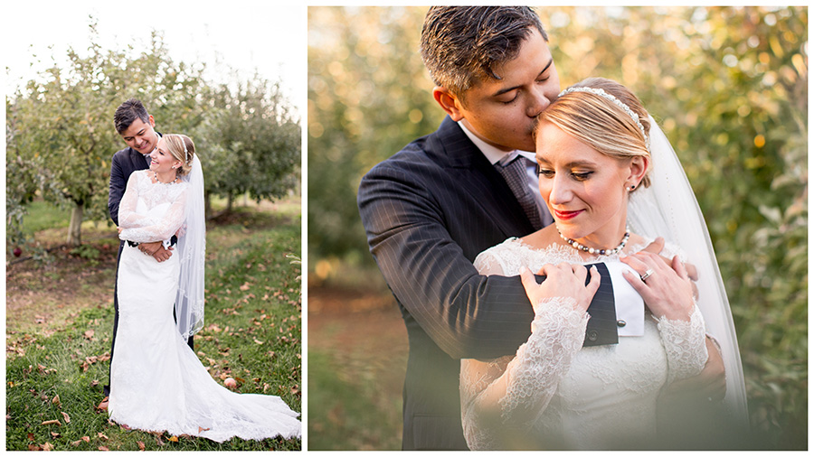 bride and groom in apple orchard at hill creek