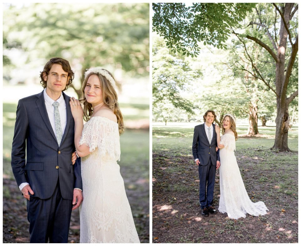 bohemian couple pose for wedding portraits in philadelphia