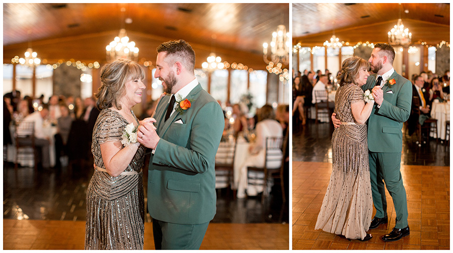 mother and son dance at wedding at stroudsmoor country inn