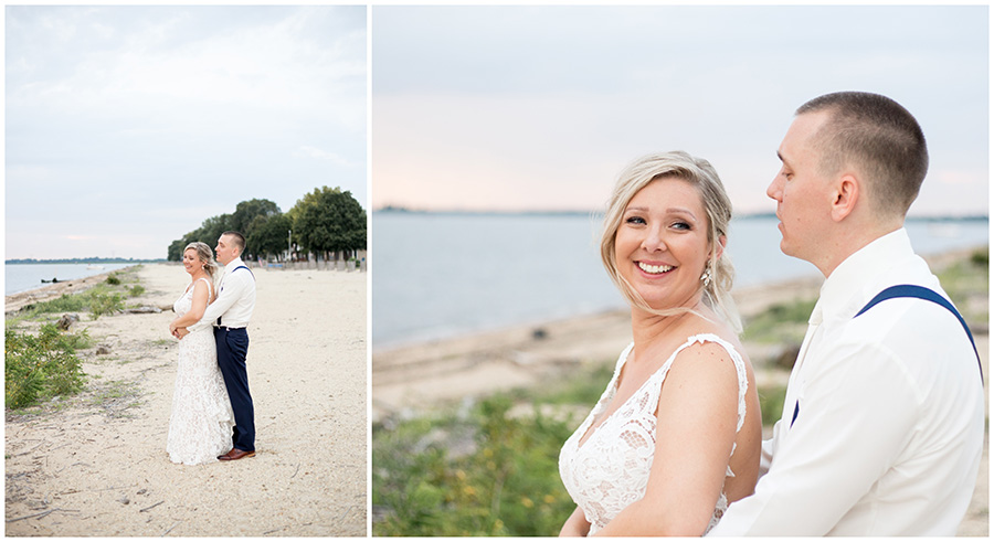 bride and groom portraits by the delaware river at the inn at salem country club