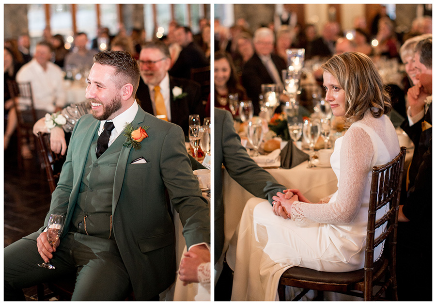 couples listens to toasts and get emotional