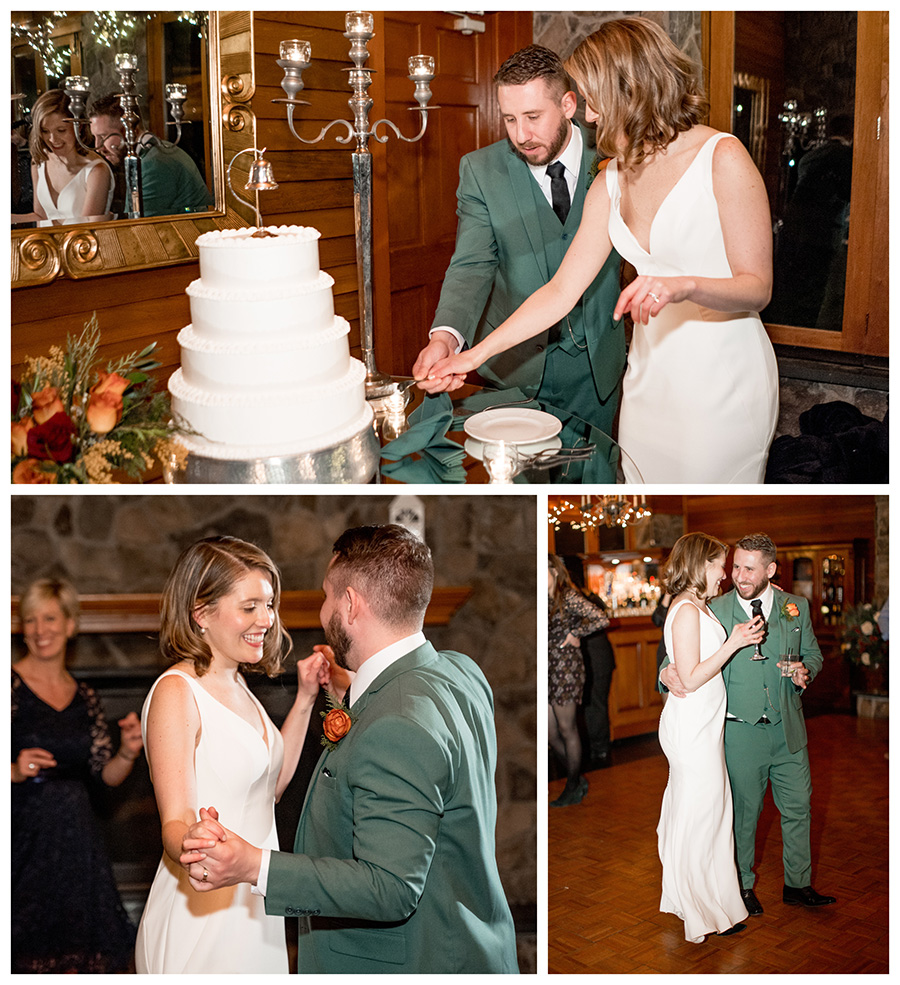 bride and groom enjoy wedding reception and cut the cake at stroudsmoor country inn
