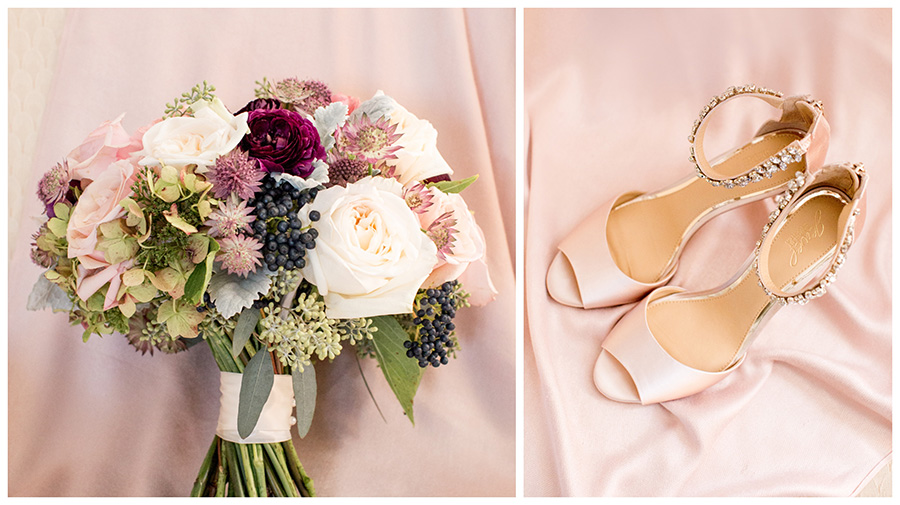 blush and plum wedding details
