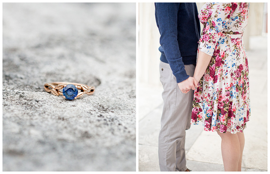 rose gold engagement ring with blue stone