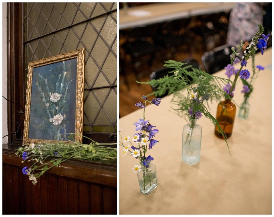 ferns and wildflower wedding centerpieces