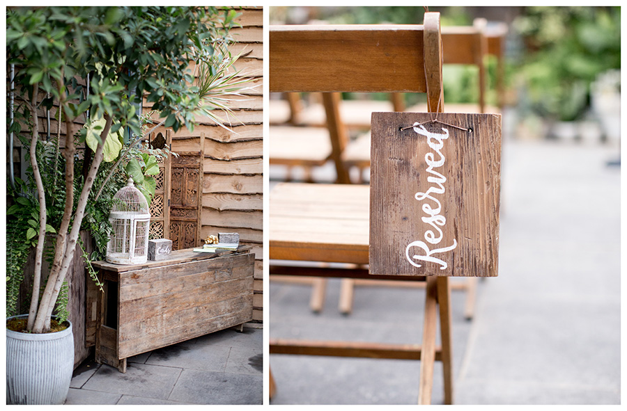 greenhouse wedding details at ceremony
