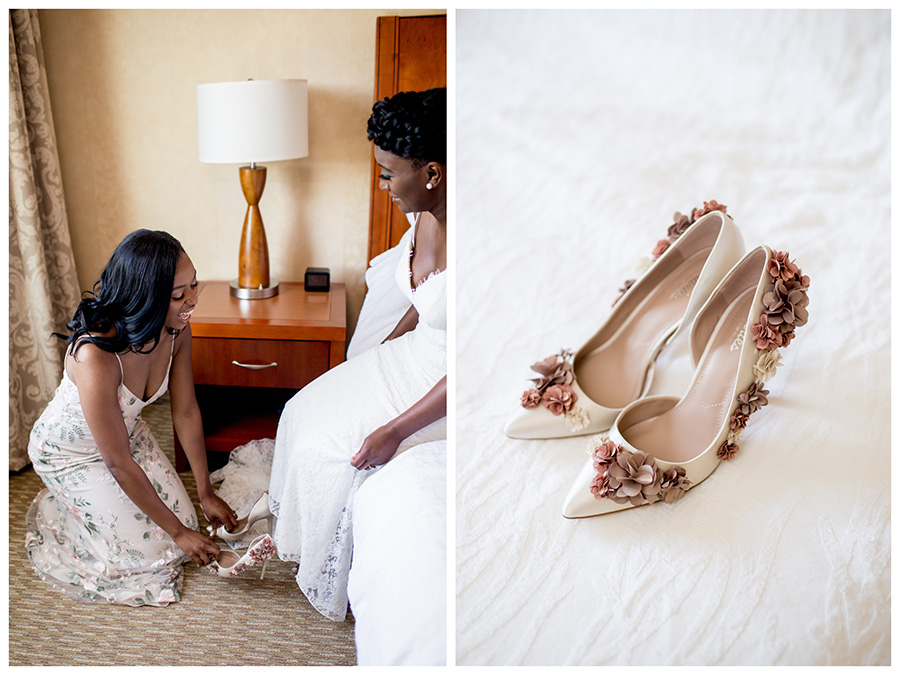 maid of honor helps bride put on her shoes