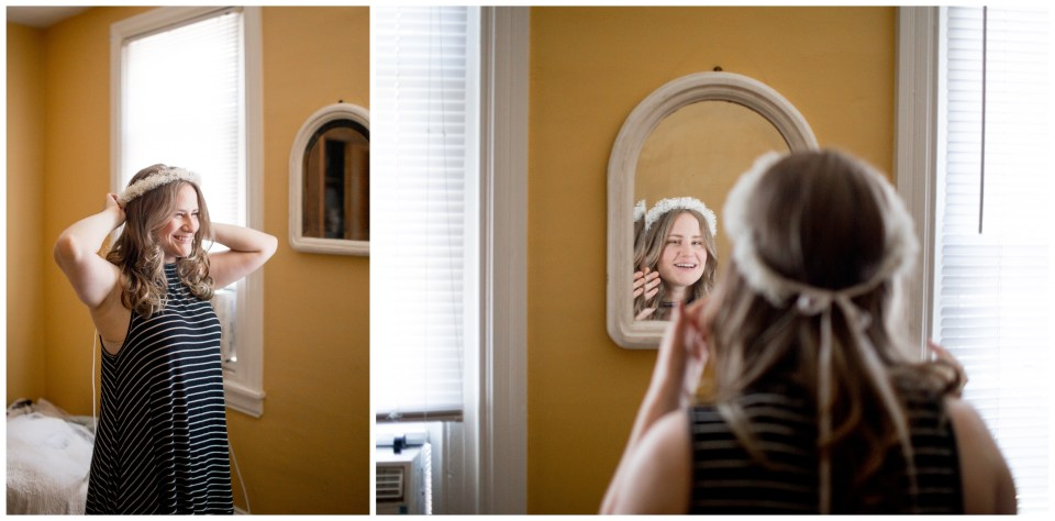 bride getting ready in her philadelphia home