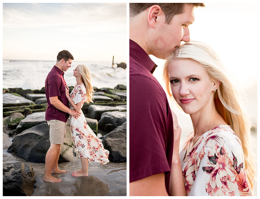 engagement portraits on the beach in ocean city